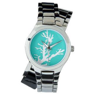 Rama coralina - blanco en la turquesa reloj de mano
