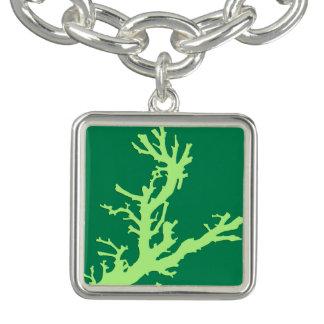 Rama coralina - cal y verde esmeralda pulseras
