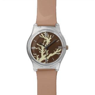 Rama coralina - marrón y beige del cacao reloj