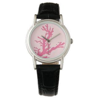 Rama coralina - sombras del rosa coralino relojes de mano