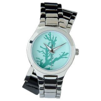 Rama coralina - turquesa y aguamarina relojes