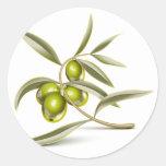 Rama de aceitunas verdes pegatina redonda
