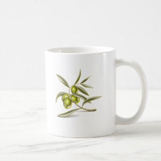 Rama de aceitunas verdes taza