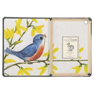 Rama de árbol azul del pájaro del canto lindo
