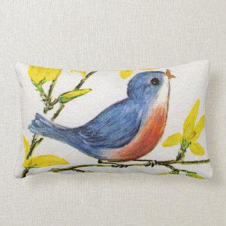 Rama de árbol azul del pájaro del canto lindo almohada