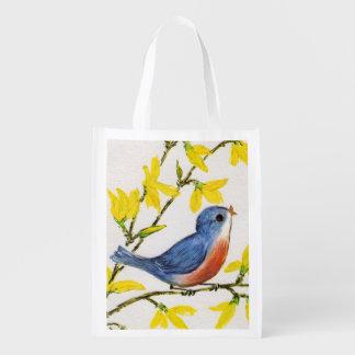 Rama de árbol azul del pájaro del canto lindo bolsas de la compra