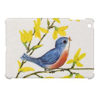 Rama de árbol azul del pájaro del canto lindo iPad mini cobertura