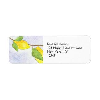 Rama de árbol con los limones y las hojas en etiqueta de remite