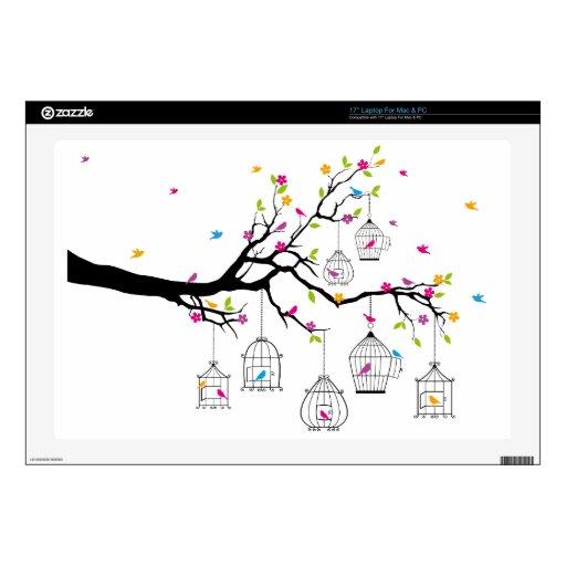 rama de árbol con los pájaros y los birdcages portátil 43,2cm skins