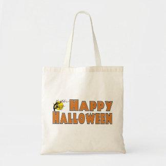 Rama de árbol del búho del feliz Halloween Bolsas De Mano