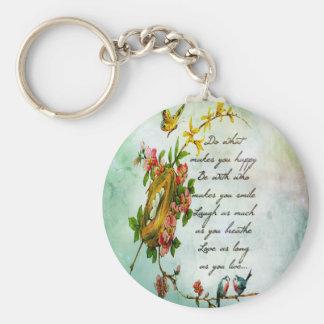 Rama de árbol florida del vintage hermoso con los  llavero redondo tipo pin