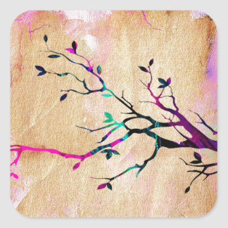 Rama de árbol pegatina cuadradas personalizada