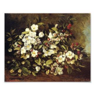 Rama de Courbet de la impresión de los flores de A Fotografia