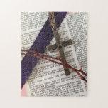 Rama de espinas y de la cruz rompecabeza con fotos