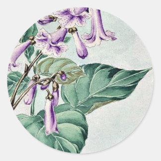 Rama de Kiri con las flores de Megata Morikaga Etiquetas Redondas