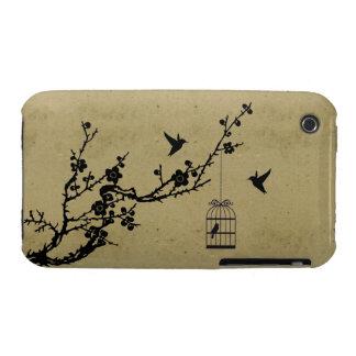 Rama de la flor de cerezo del vintage y silueta de carcasa para iPhone 3