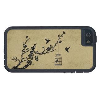 Rama de la flor de cerezo del vintage y silueta de funda iPhone SE/5/5s