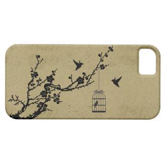 Rama de la flor de cerezo del vintage y silueta de funda para iPhone SE/5/5s