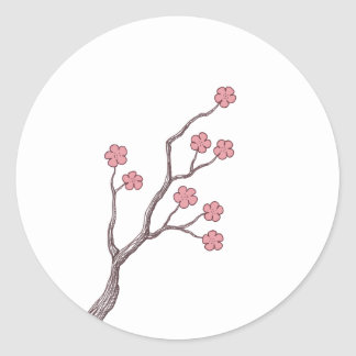 Rama de la flor de cerezo pegatina redonda
