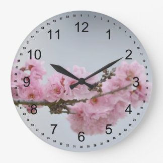 Rama de la flor de cerezo reloj redondo grande