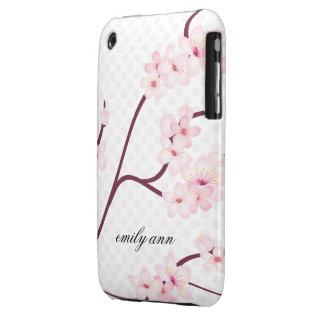 Rama de las flores de cerezo en lunares iPhone 3 Case-Mate cárcasas