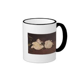 Rama de los Peonies y de las tijeras de podar blan Tazas De Café