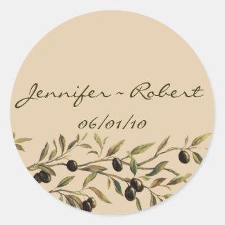 Rama de olivo: Un tacto toscano Etiqueta Redonda