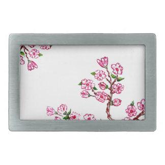 Rama de Sakura que pinta 3 Hebilla De Cinturón Rectangular