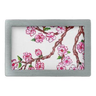 Rama de Sakura que pinta 4 Hebillas De Cinturon Rectangulares