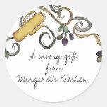 rama del aceite de oliva del doodle del hippie de etiquetas redondas