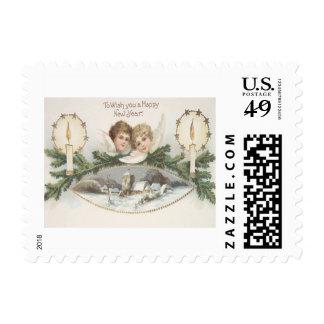 Rama del árbol de hoja perenne de la vela del sellos postales