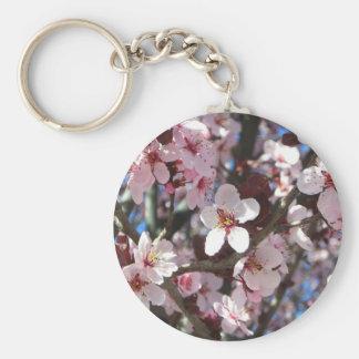 Rama del árbol floreciente de la primavera rosada llavero redondo tipo pin