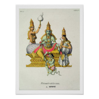 Rama, engraved by du Bouisi (colour litho) Poster