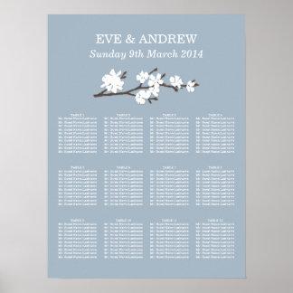 Rama floral de la carta el   del asiento del boda póster