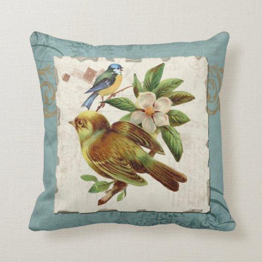 Rama floral del remolino del sello de los pájaros cojín decorativo