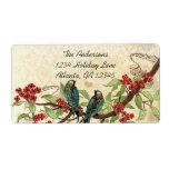 Rama floreciente de Borgoña del pájaro del trullo  Etiquetas De Envío