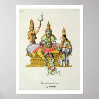 Rama, grabado por du Bouisi (litho del color) Posters