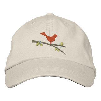 Rama roja del pájaro - casquillo de la bola gorras bordadas