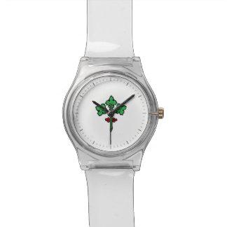 Rama simbólica del acebo con las bayas relojes de pulsera