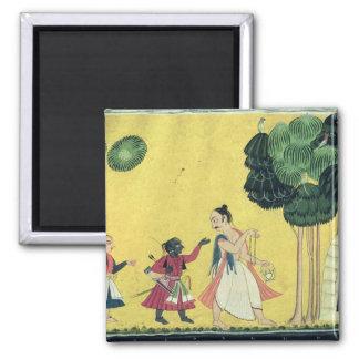 Rama y Lakshmana acompañados por Visvamitra Imán Cuadrado
