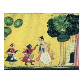Rama y Lakshmana acompañados por Visvamitra Postal