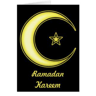 Ramadan Kareem with Crescent Moon and Star Card