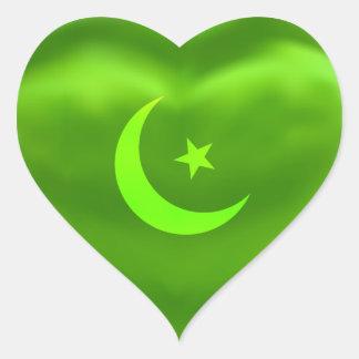 Ramadan Moon Green Silky Satin Heart Sticker