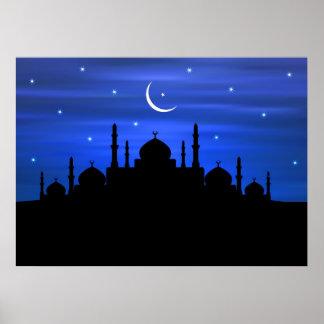 Ramadan Moon & Mosque Poster