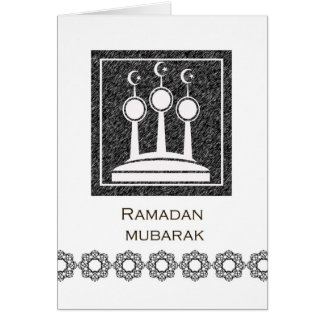 Ramadan Mubarak, Abstract Mosque Minarets Design Greeting Card