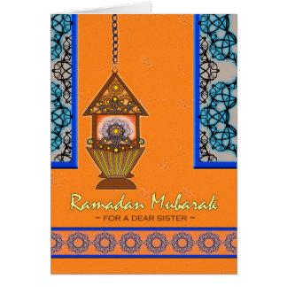 Ramadan Mubarak for Sister, Fanoos Lantern Card