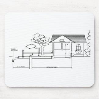 ramal planta arquitetura desenho casa de perfil mouse pad