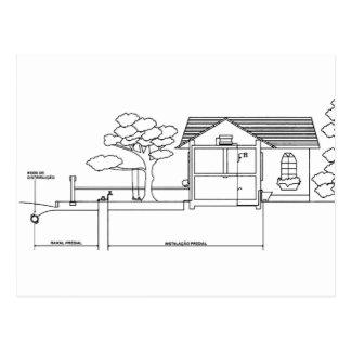 ramal planta arquitetura desenho casa de perfil cartão postal