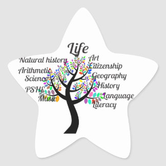 Ramas coloridas de la vida y de la educación pegatina en forma de estrella