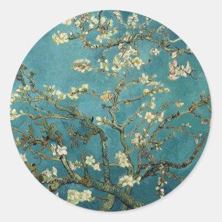 Ramas con el flor de la almendra de Vincent van Pegatina Redonda
